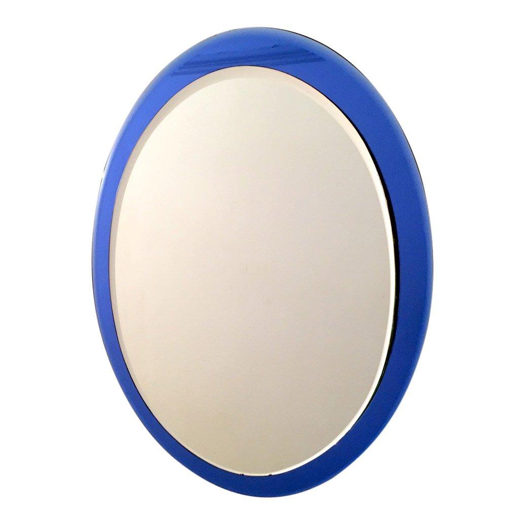 italienischer spiegel mit blauem glasrahmen bei pamono kaufen. Black Bedroom Furniture Sets. Home Design Ideas