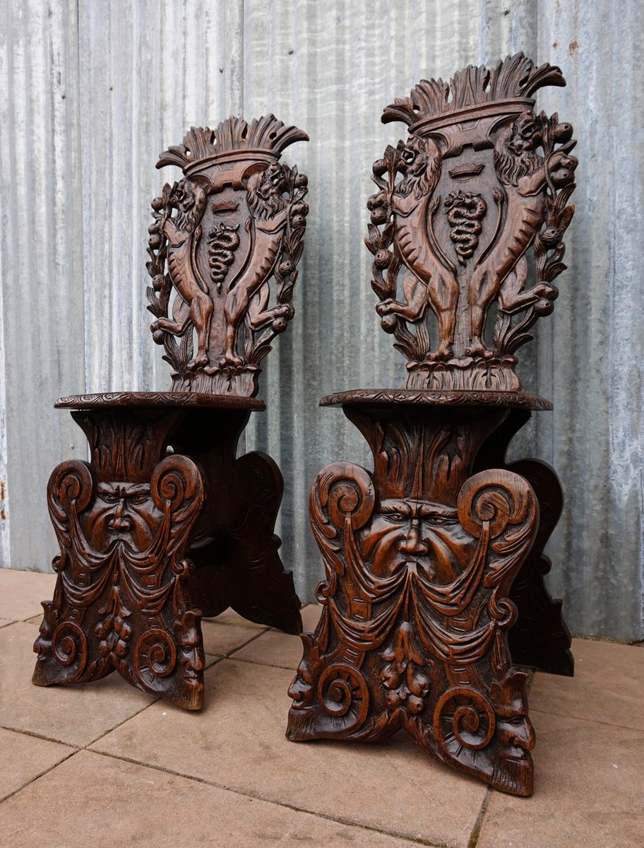 Antique Italian Carved Oak Sgabello Chairs, Set of 2 - Antique Italian Carved Oak Sgabello Chairs, Set Of 2 For Sale At