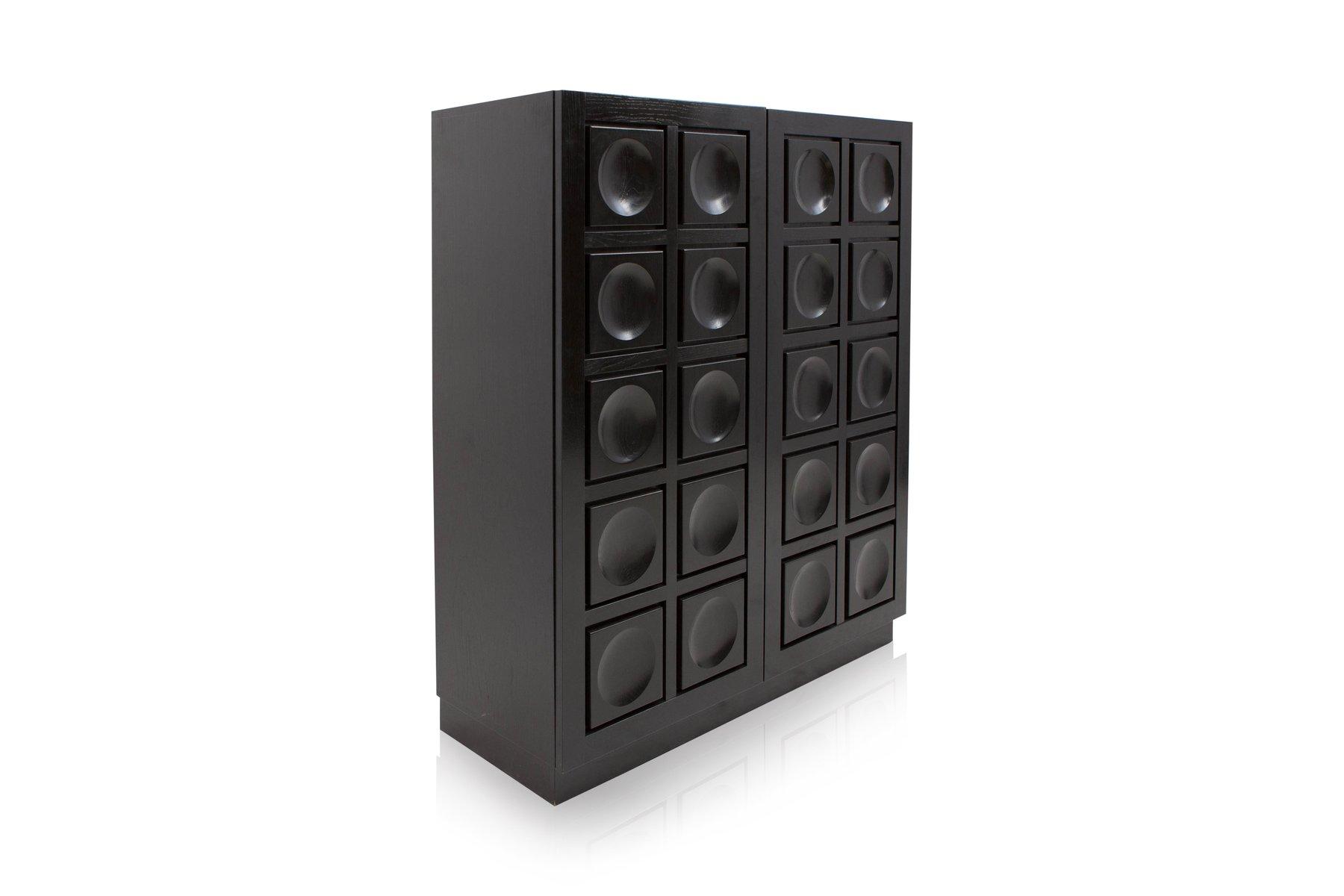 Elegant Brutalist Black Bar Cabinet, 1970s