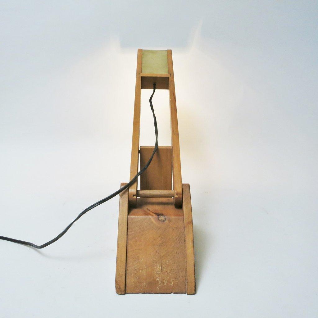 lampe aus holz messing 1970er bei pamono kaufen. Black Bedroom Furniture Sets. Home Design Ideas