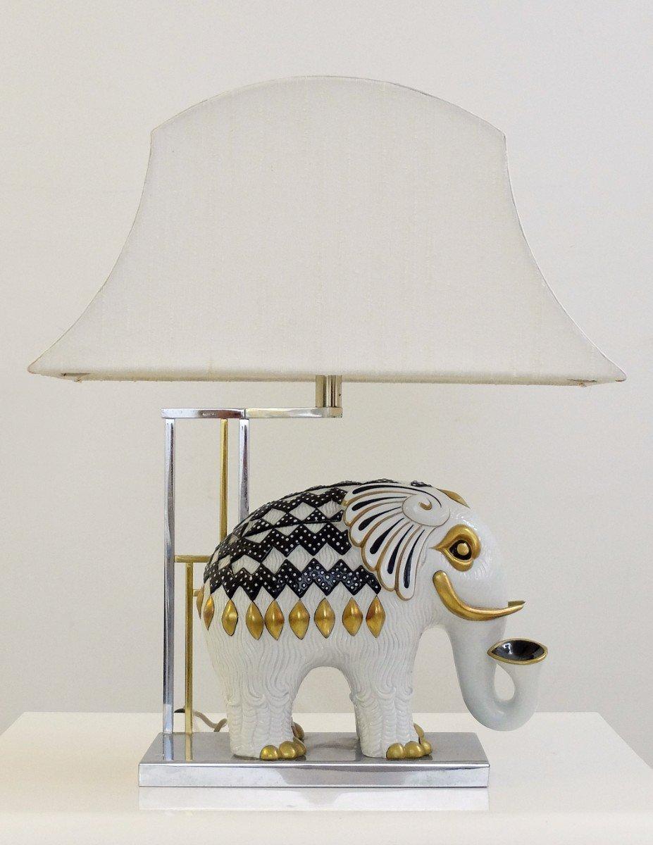 Lampada da tavolo Mangani a forma di elefante in porcellana, anni '50 in vendita su Pamono