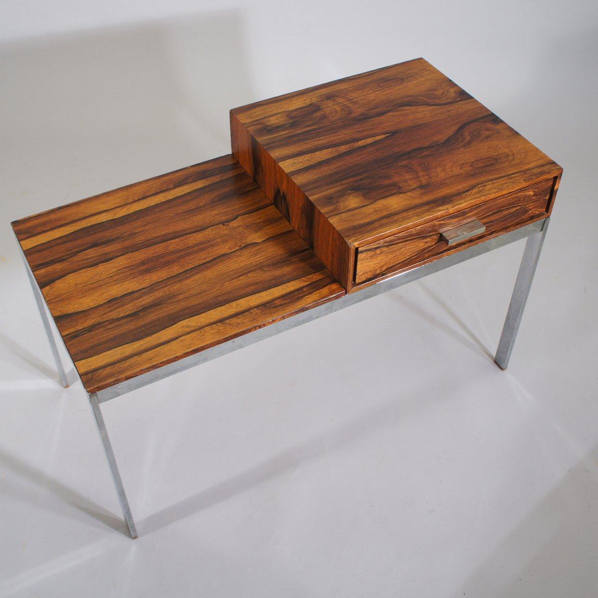 mid century alpacka bank mit schublade aus metall und holz von gillis lundgren f r ikea 1960er. Black Bedroom Furniture Sets. Home Design Ideas