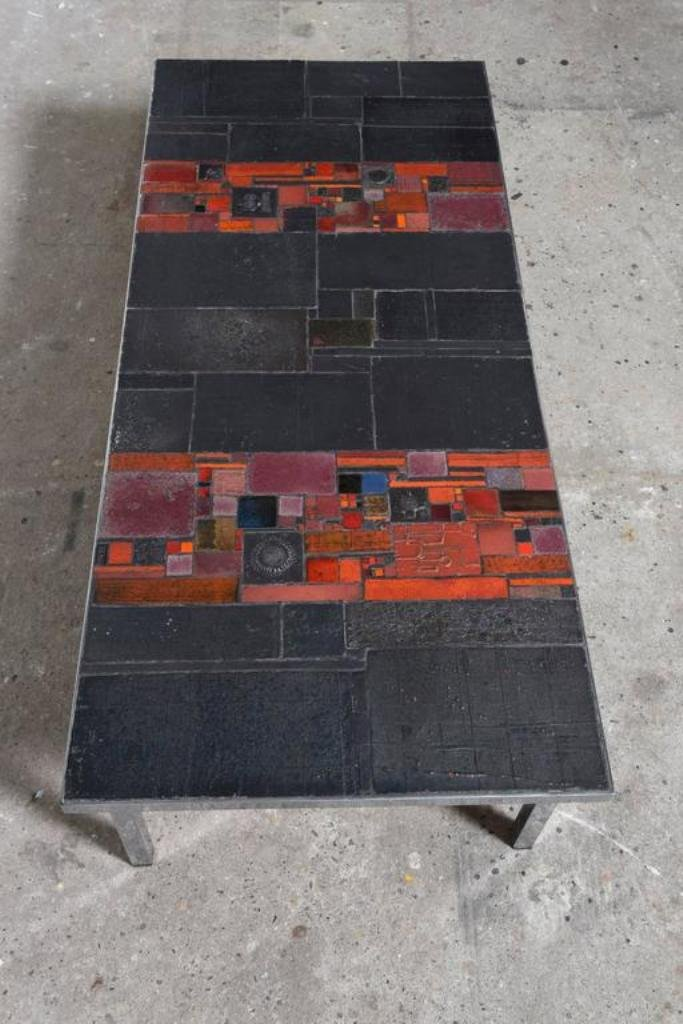 Large Low Rectangular Art Ceramic Tile Table by Pia Manu, 1960s for ...