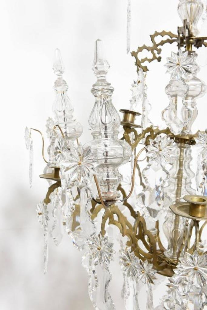 Antique French Baguès Doré Bronze and Crystal Chandelier for sale at Pamono - Antique French Baguès Doré Bronze And Crystal Chandelier For Sale At
