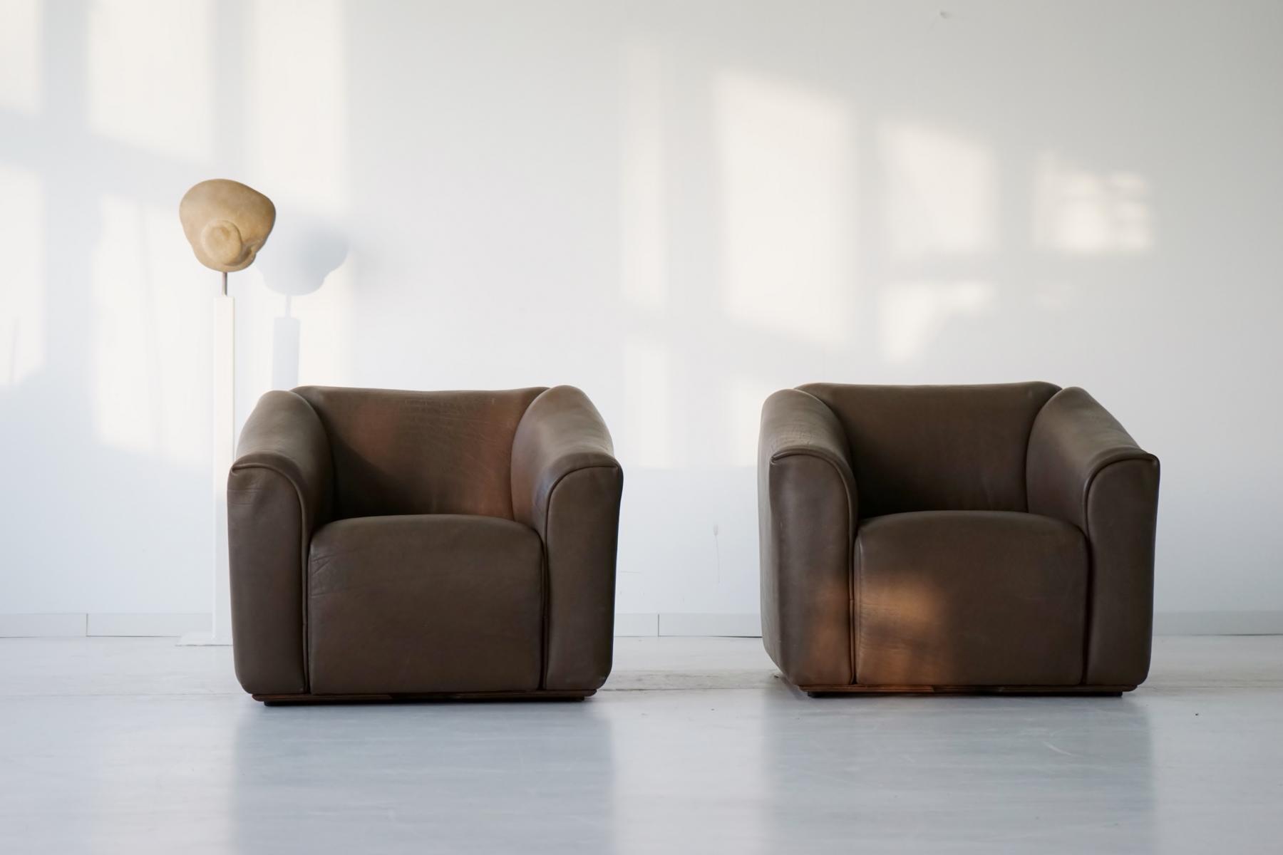 vintage ds 47 neckleder sessel von de sede 2er set bei. Black Bedroom Furniture Sets. Home Design Ideas