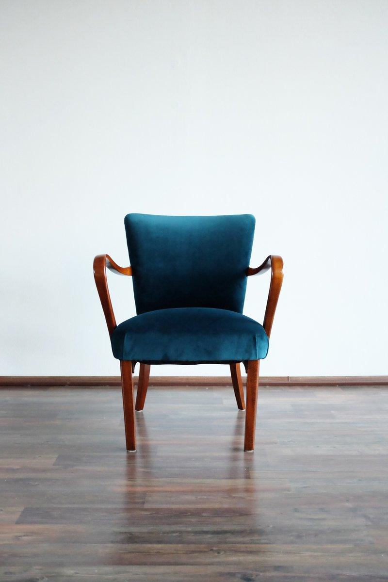 polsterstuhl aus samt von thonet 1930er bei pamono kaufen. Black Bedroom Furniture Sets. Home Design Ideas