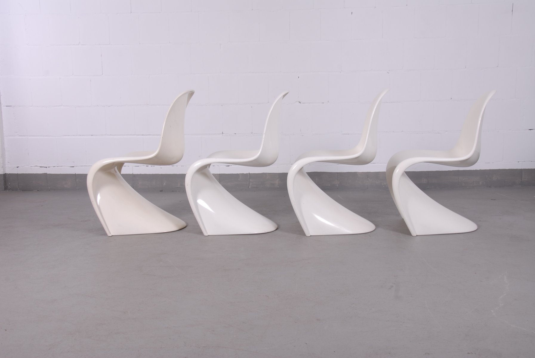 f White Panton Chairs by Verner Panton for Fehlbaum 1960s Set of 4