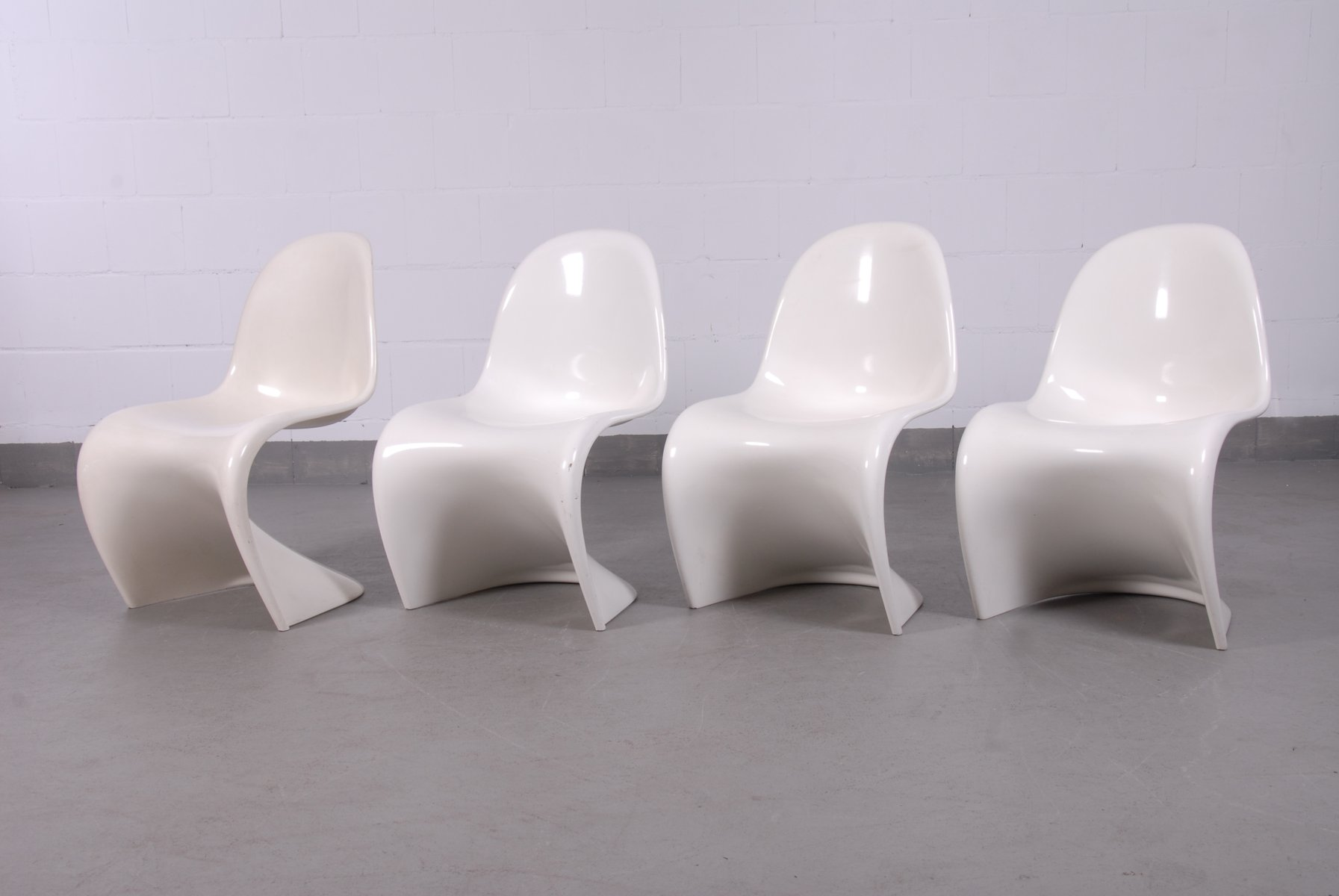 Off White Panton Chairs By Verner Panton For Fehlbaum, 1960s, Set Of 4