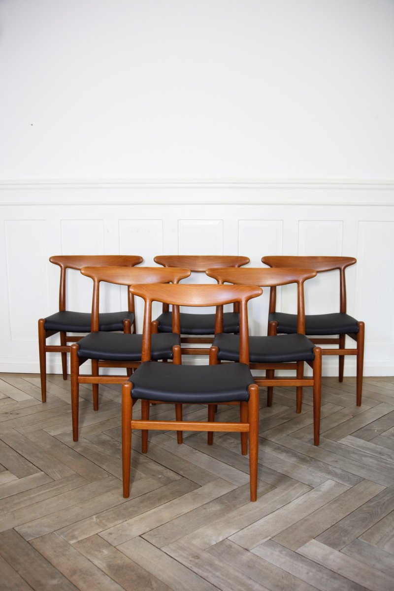 d nische mid century w2 st hle von hans j wegner f r madsens 1950er 6er set bei pamono kaufen. Black Bedroom Furniture Sets. Home Design Ideas