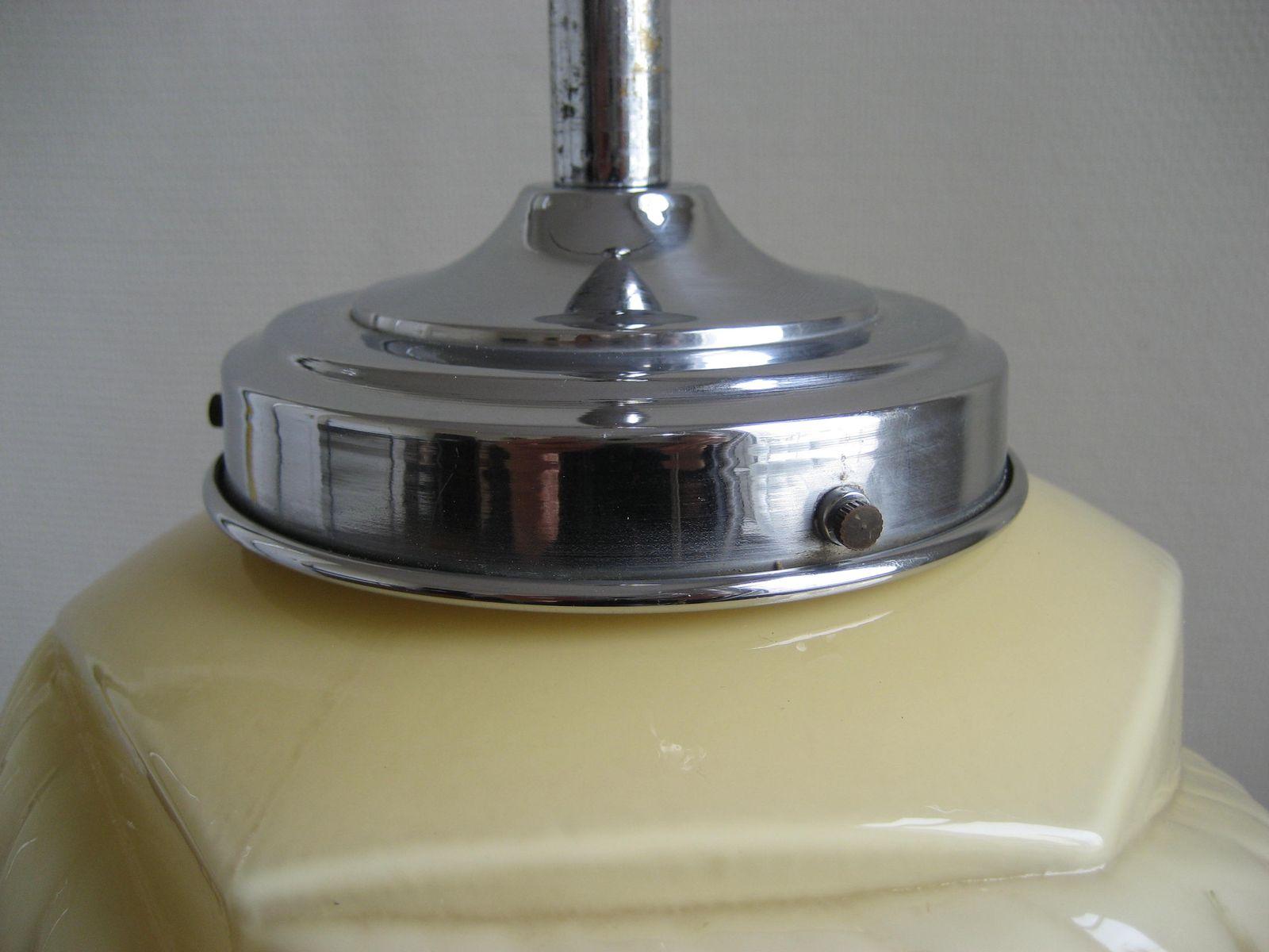 art deco lampe mit beigem glasschirm bei pamono kaufen. Black Bedroom Furniture Sets. Home Design Ideas