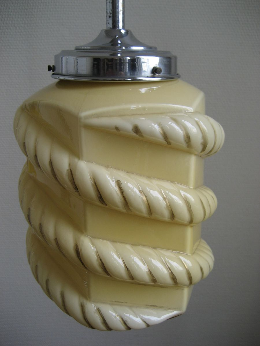 Art deco lampe mit beigem glasschirm bei pamono kaufen for Art deco lampe