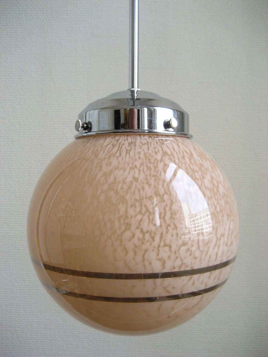 french art deco glass globe pendant for sale at pamono. Black Bedroom Furniture Sets. Home Design Ideas
