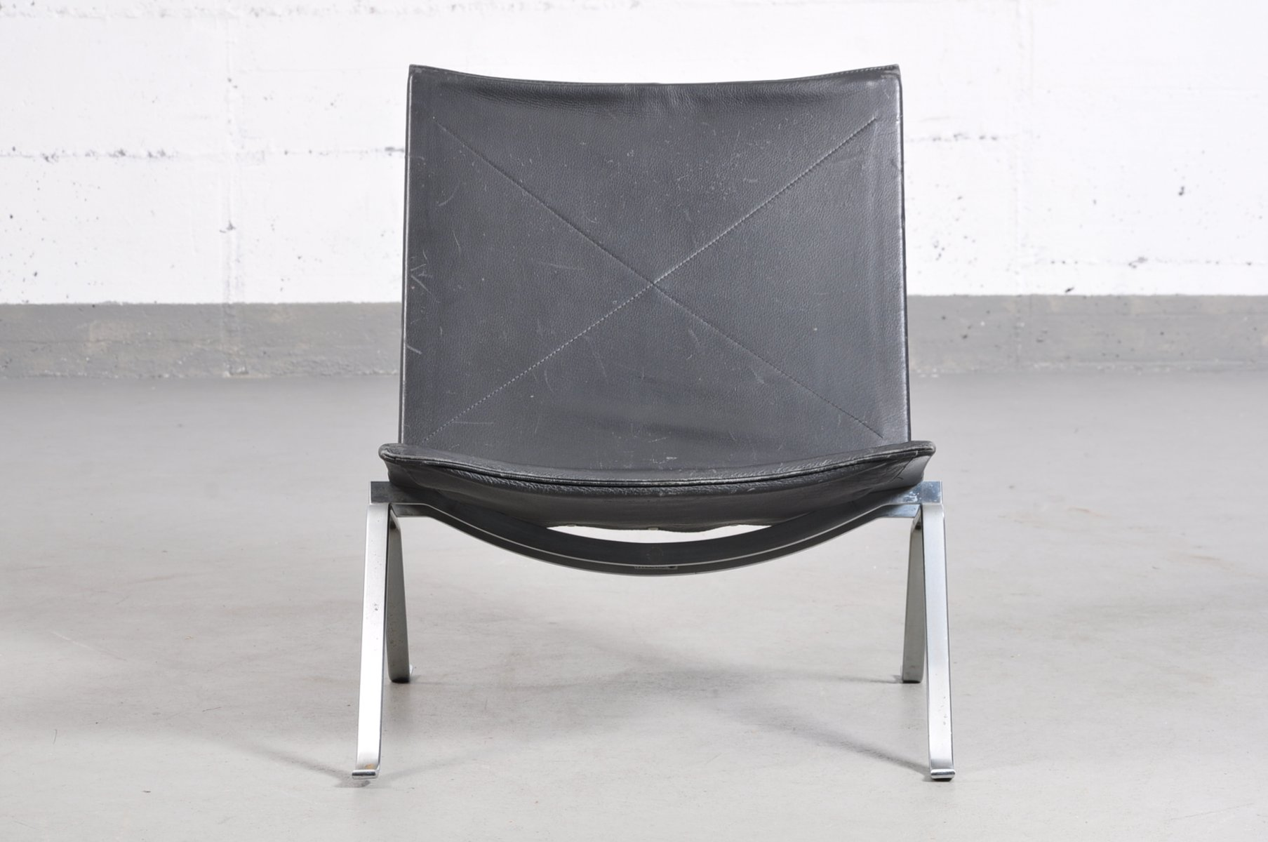Vintage PK 22 Black Leather Chair by Poul Kj¦rholm for Fritz
