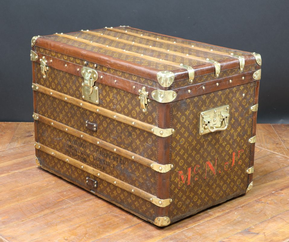 Steamer trunk with stencil monogram canvas from louis vuitton 1930s for sale at pamono
