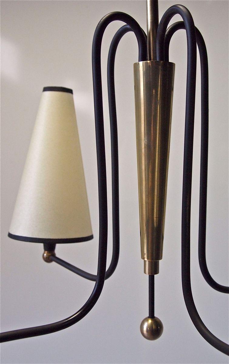 franz sischer schwarz lackierter messing kronleuchter 1950er bei pamono kaufen. Black Bedroom Furniture Sets. Home Design Ideas