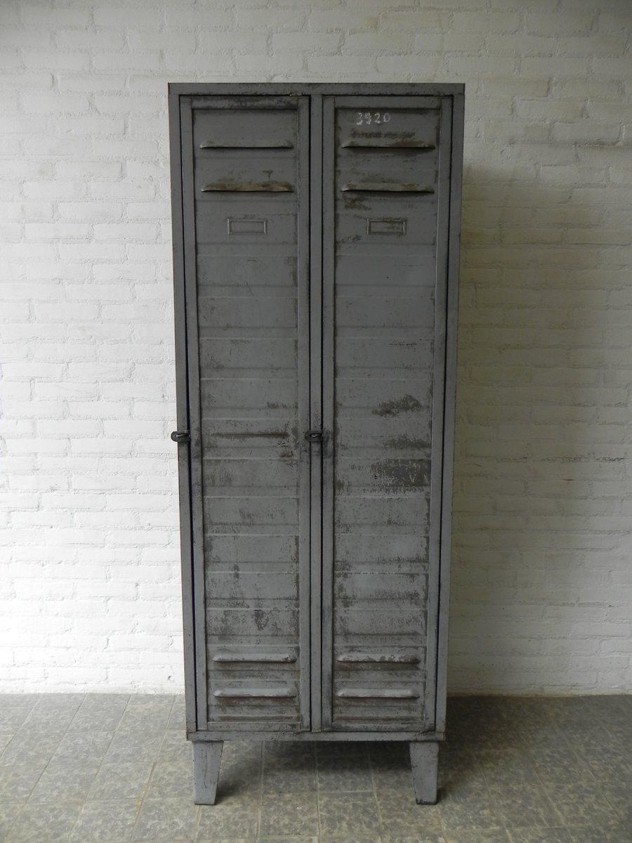 Industrial Steel Locker with 2 Doors 1950s & Industrial Steel Locker with 2 Doors 1950s for sale at Pamono