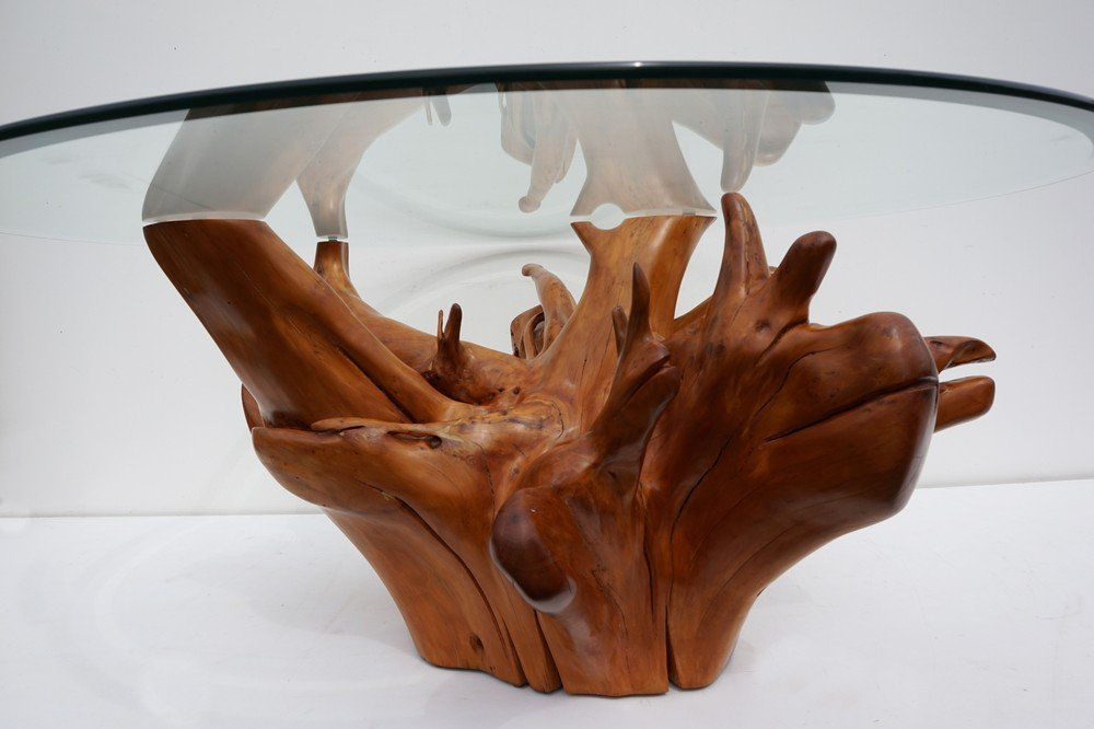 Mid Century Teak Tree Root Coffee Table With Beveled Gl Top