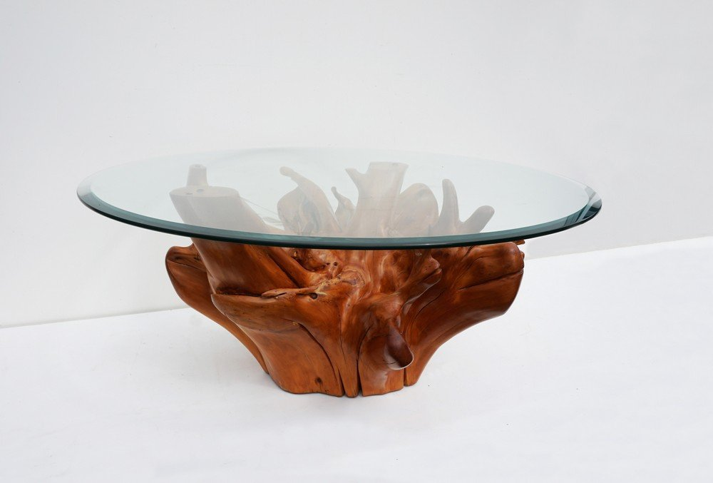 Superior Mid Century Teak Tree Root Coffee Table With Beveled Glass Top