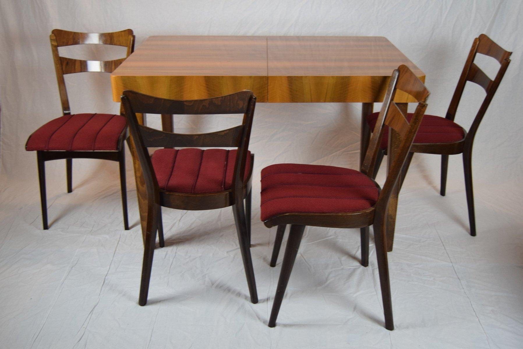 teak esstisch mit vier st hlen 1960er bei pamono kaufen. Black Bedroom Furniture Sets. Home Design Ideas