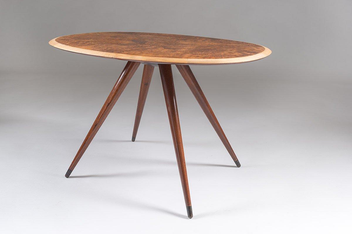 schwedischer mid century couchtisch mit ulmen wurzelholz intarsie 1950er bei pamono kaufen. Black Bedroom Furniture Sets. Home Design Ideas