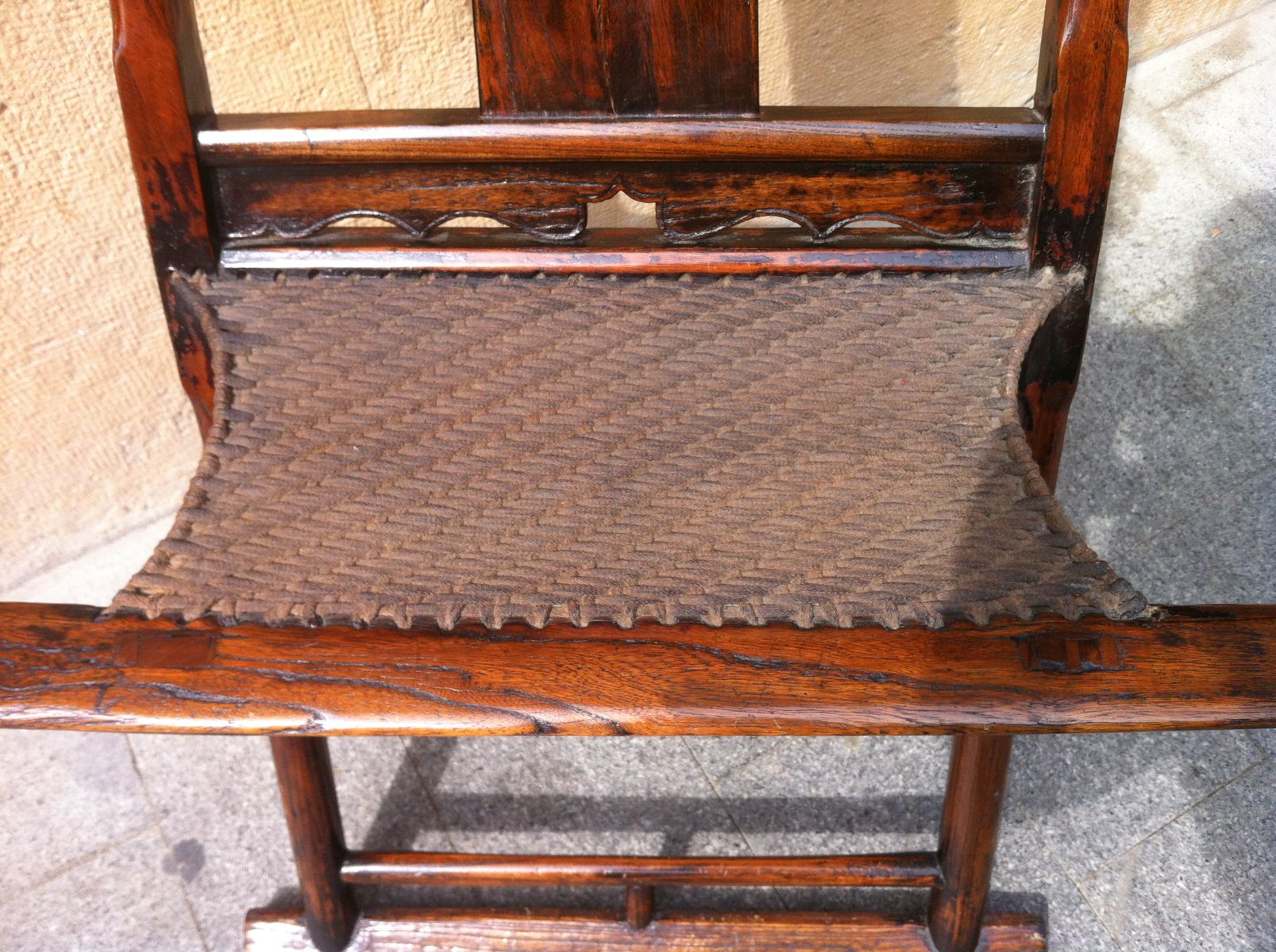 Chinese Qing Dynasty Yoke Back Wooden Folding Chair 1900s for