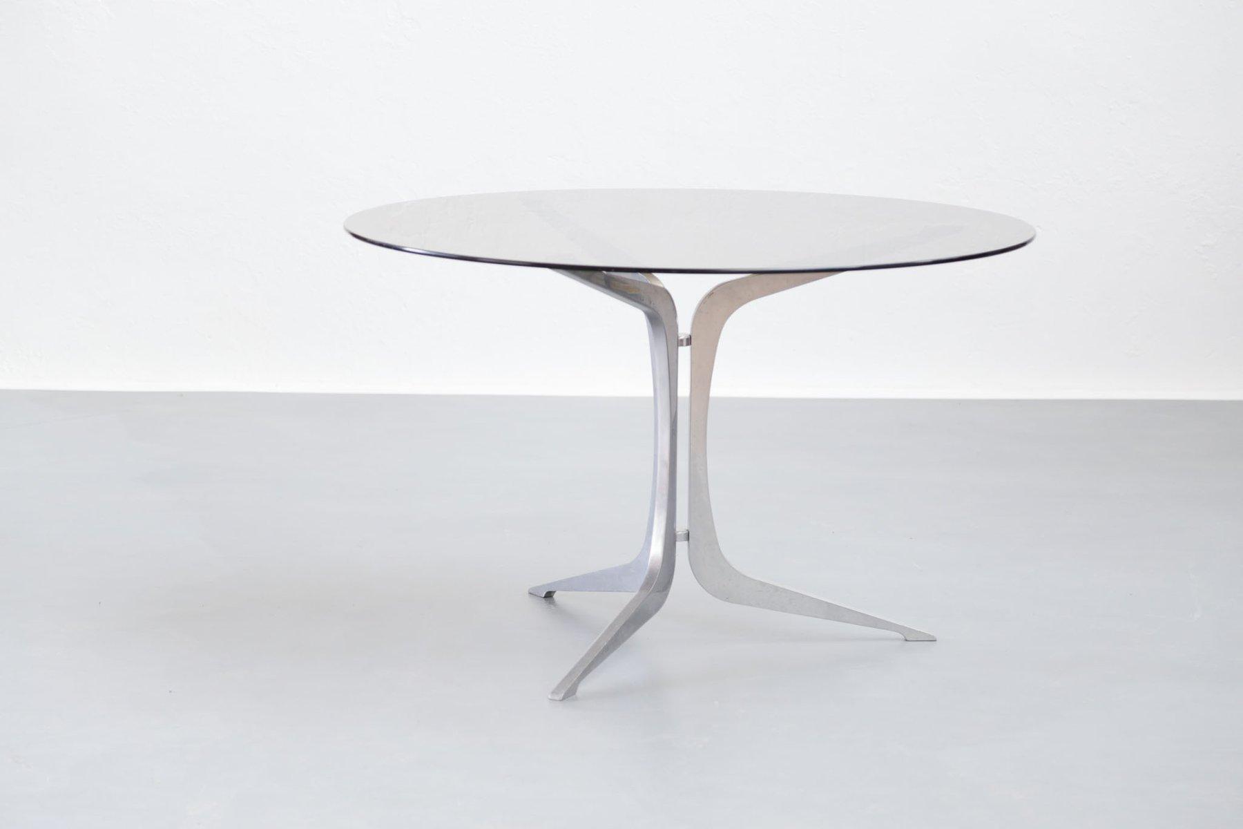 franz sischer tisch aus metall mit glasplatte 1960er bei pamono kaufen. Black Bedroom Furniture Sets. Home Design Ideas