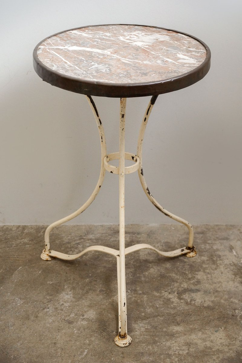 Good Antique Bistro Table With Marble Top, 1890s