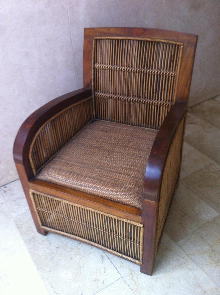 fauteuil club art d co en bois roseau espagne 1960s en vente sur pamono. Black Bedroom Furniture Sets. Home Design Ideas