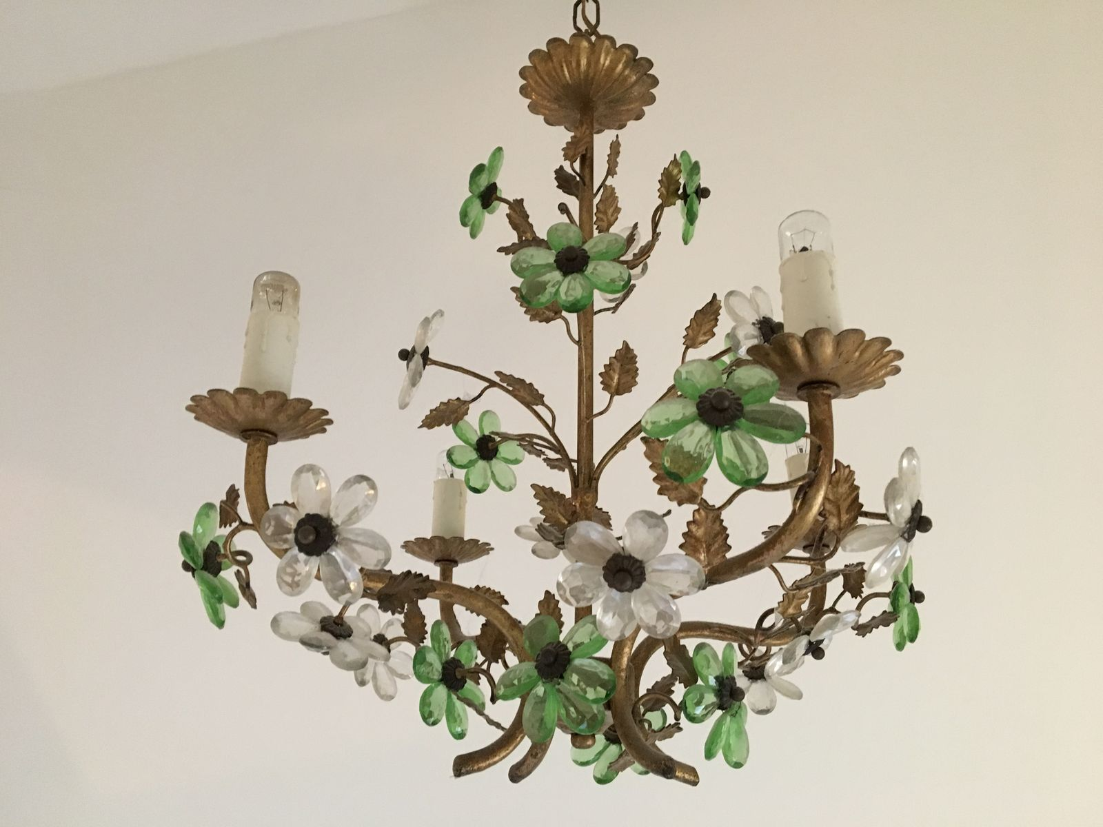 Vintage french flower chandelier for sale at pamono aloadofball Image collections