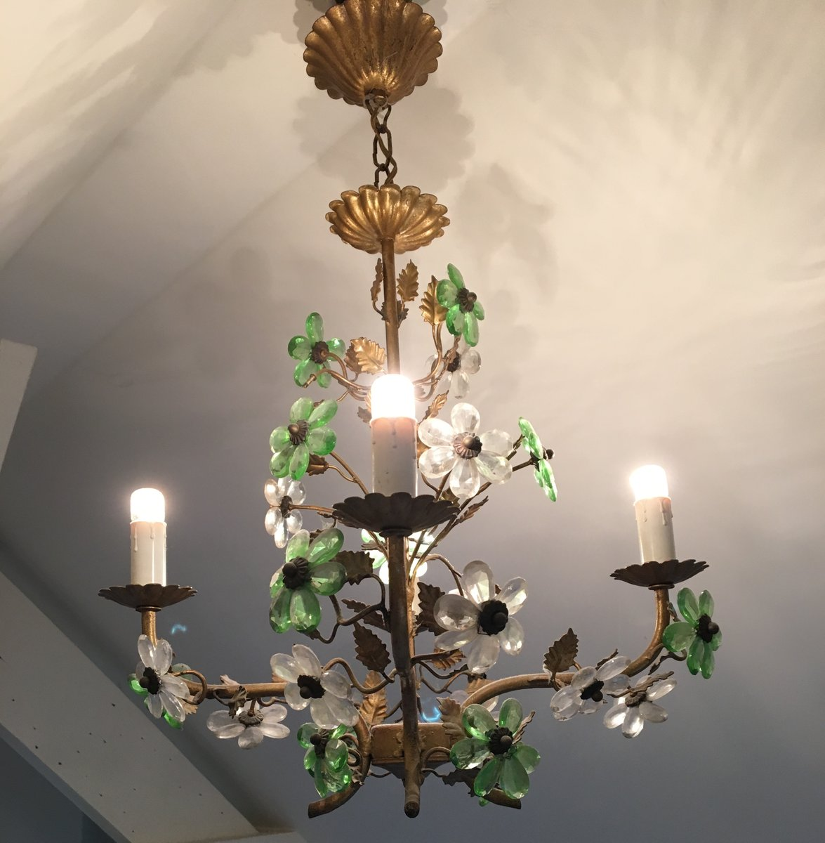 Vintage french flower chandelier for sale at pamono vintage french flower chandelier aloadofball Image collections