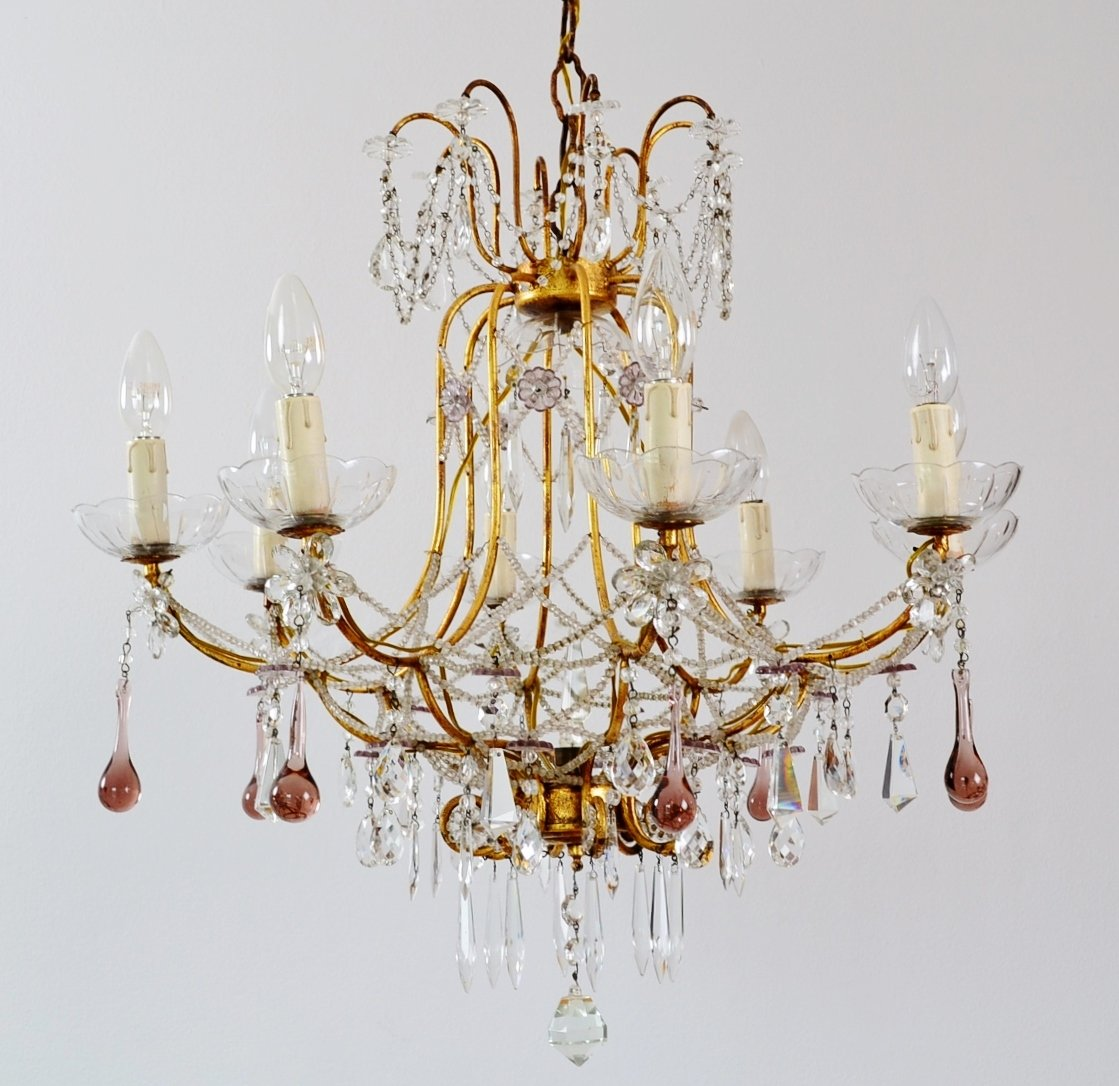 Italian gilt and crystal chandelier with lilac murano drops and italian gilt and crystal chandelier with lilac murano drops and beaded glass chains 1950s aloadofball Choice Image