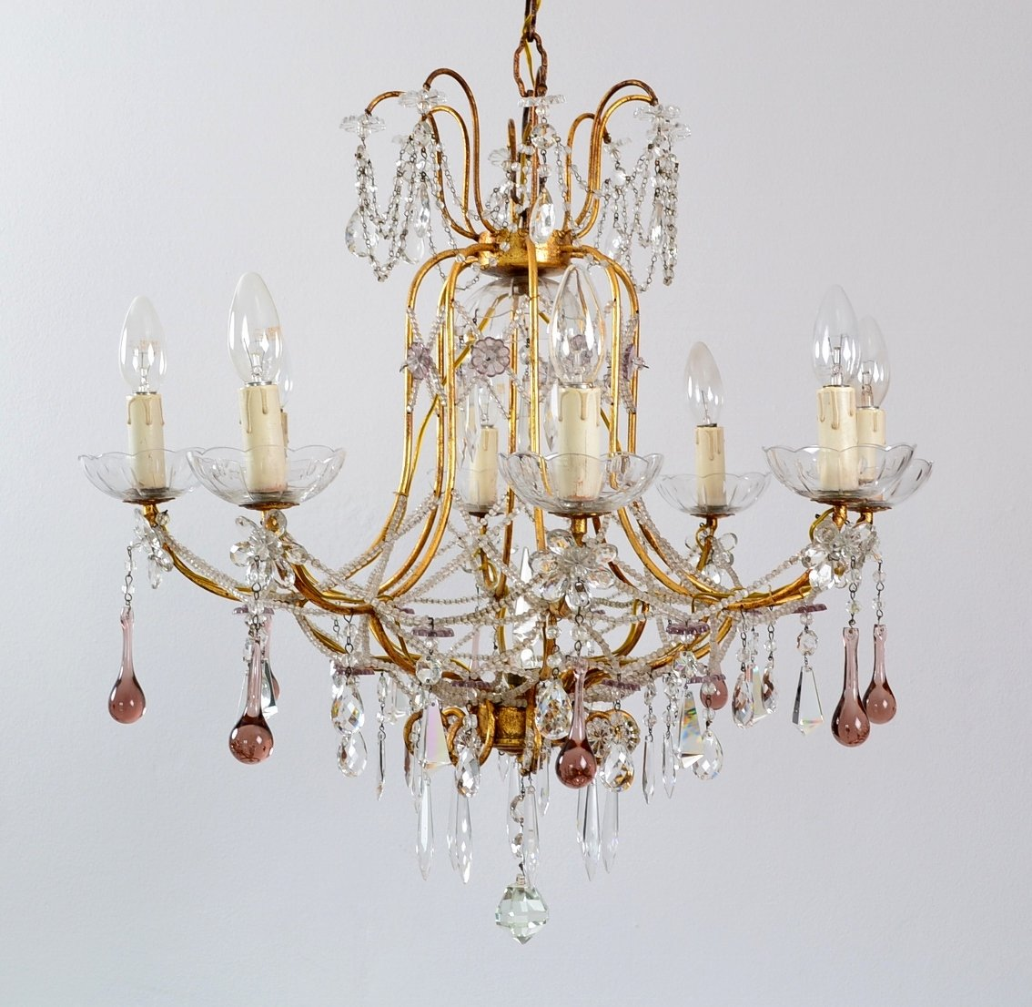 Crystal Chandelier Vs Glass: Italian Gilt And Crystal Chandelier With Lilac Murano