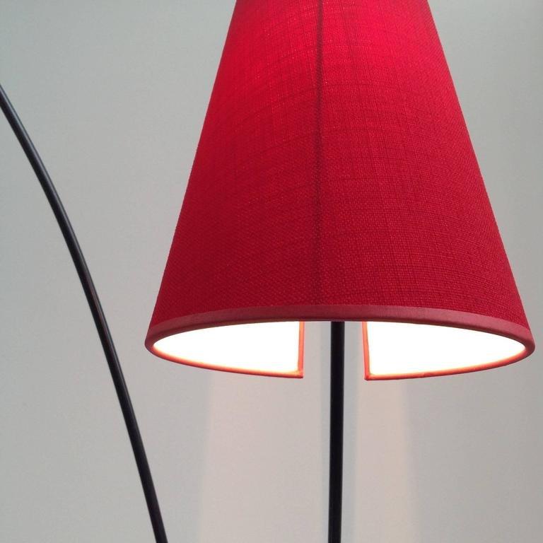 italienische mid century stehlampe in rot gelb 1950er. Black Bedroom Furniture Sets. Home Design Ideas