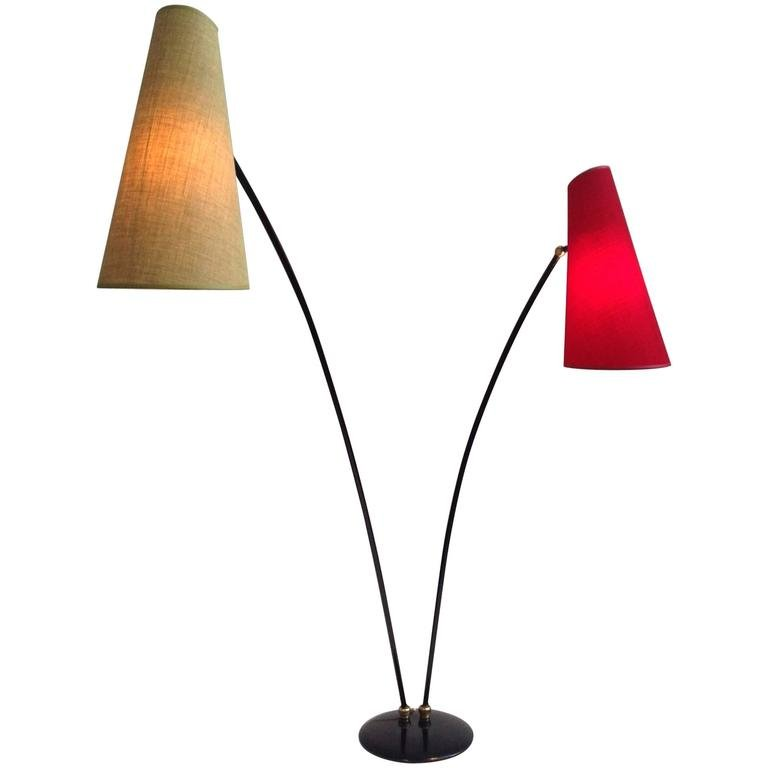 italienische mid century stehlampe in rot gelb 1950er. Black Bedroom Furniture Sets. Home Design Ideas