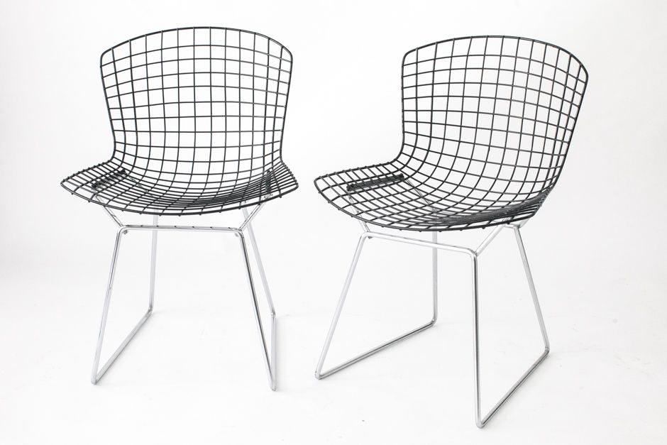 Good Mid Century Wire Chairs With Black Seats U0026 Chromed Bases By Harry Bertoia  For Knoll, Set Of 2