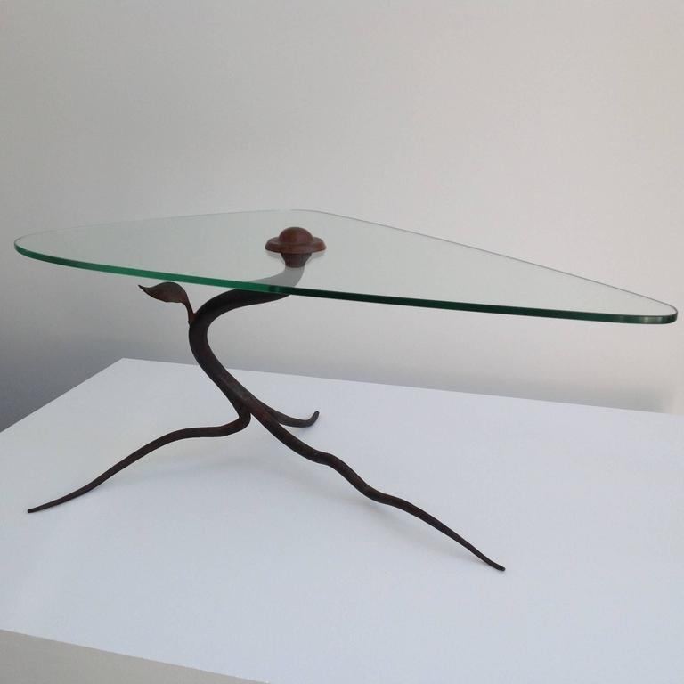 Tavolino da caffè vintage in ferro battuto e vetro in vendita su ...