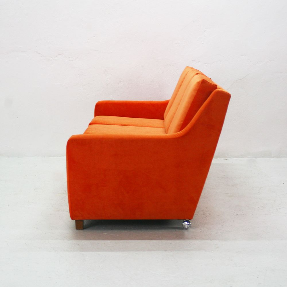 canap lounge trois places en cuir orange 1970s en vente sur pamono. Black Bedroom Furniture Sets. Home Design Ideas