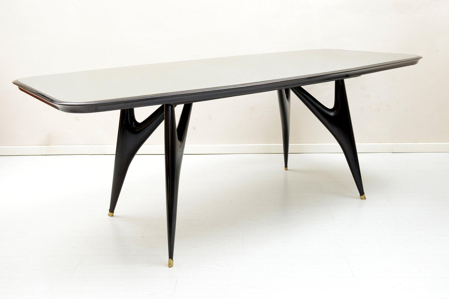 Tavolo da pranzo nero in legno, Italia, anni \'50 in vendita su Pamono