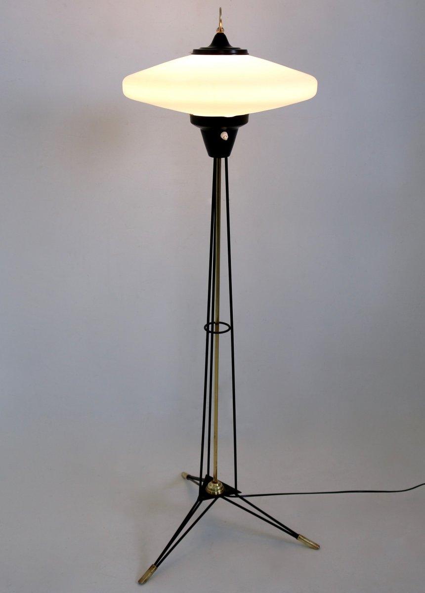 Italian Floor Lamp With Opaline Glass Shade By Stilnovo, 1950s