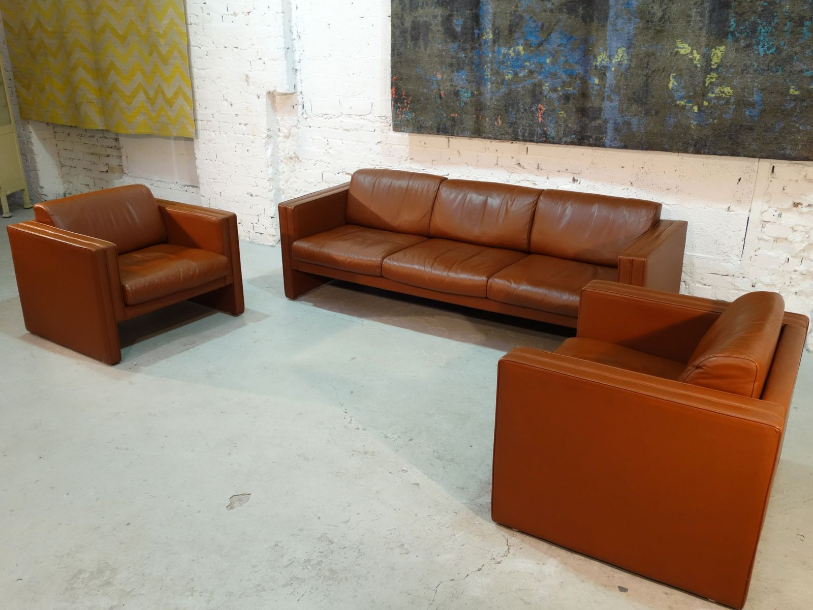 sofa two armchairs from walter knoll 1980s bei pamono kaufen. Black Bedroom Furniture Sets. Home Design Ideas