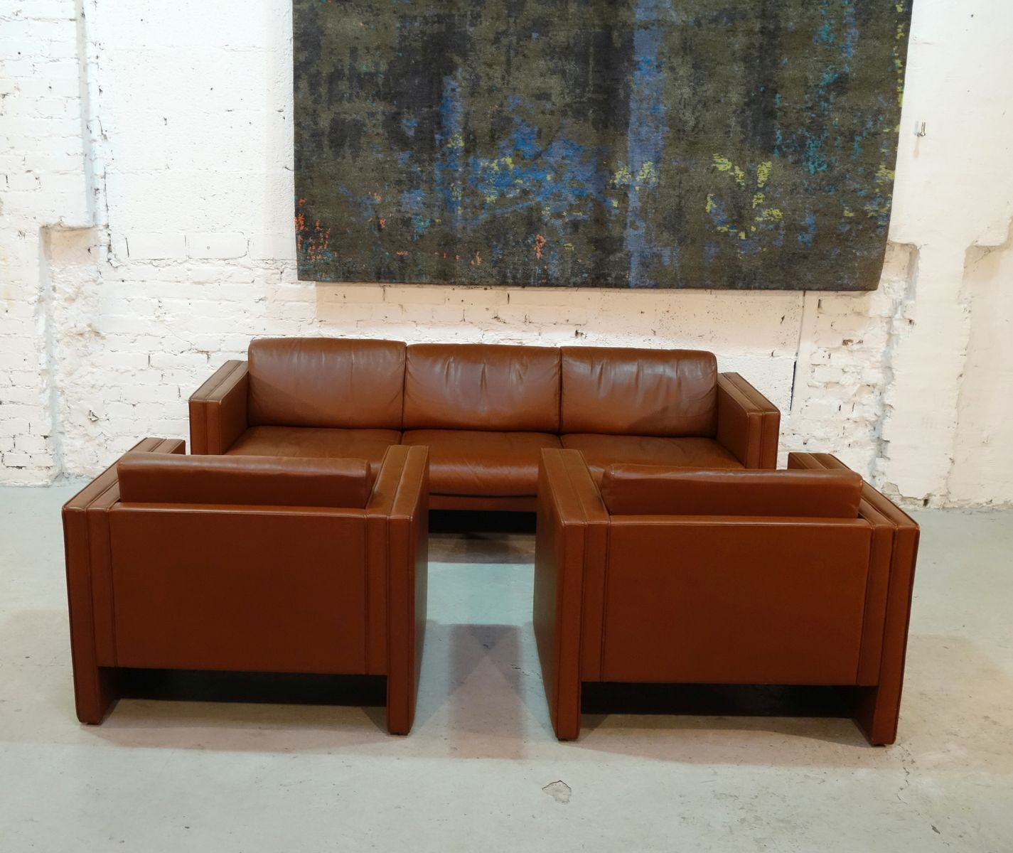 sofa mit zwei sesseln von walter knoll 1980er bei pamono kaufen. Black Bedroom Furniture Sets. Home Design Ideas