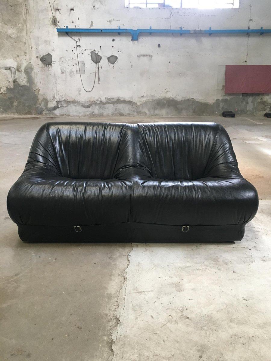 italienische wohnzimmergarnitur aus leder 1970er bei pamono kaufen. Black Bedroom Furniture Sets. Home Design Ideas