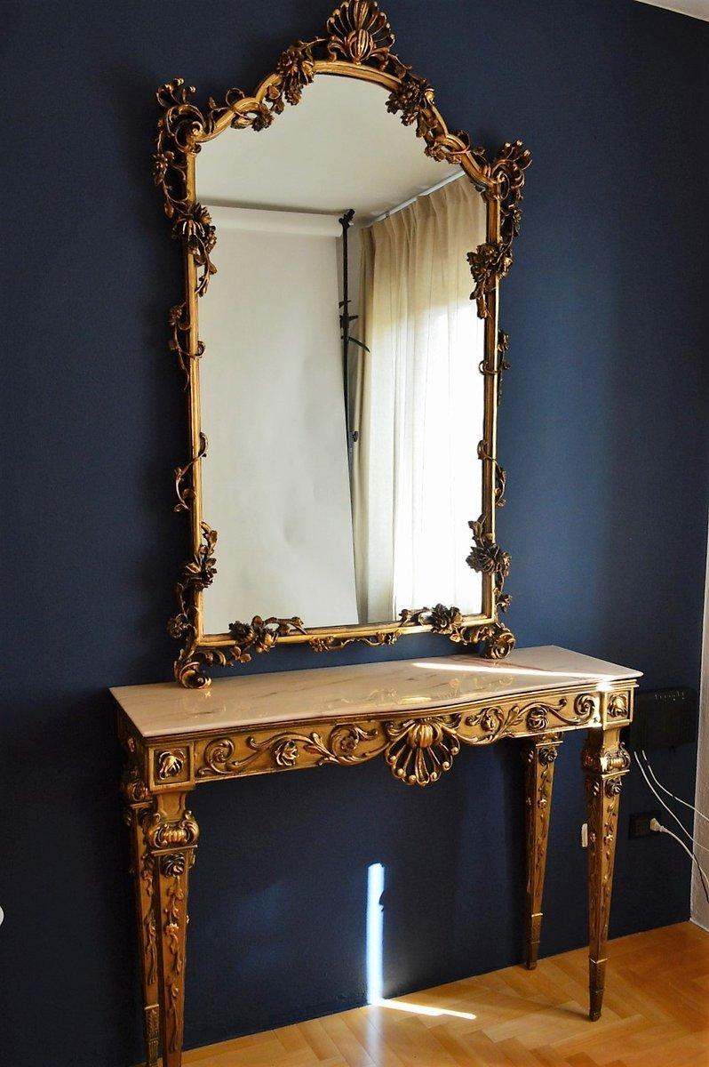 Consolle con specchio in legno dorato e marmo, Italia, anni \'50 in ...