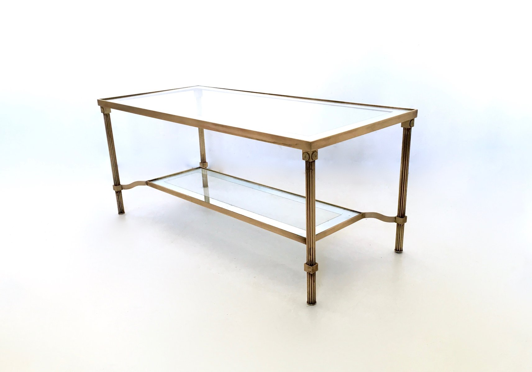 italian two tiered brass glass coffee table 1950s for sale at pamono. Black Bedroom Furniture Sets. Home Design Ideas
