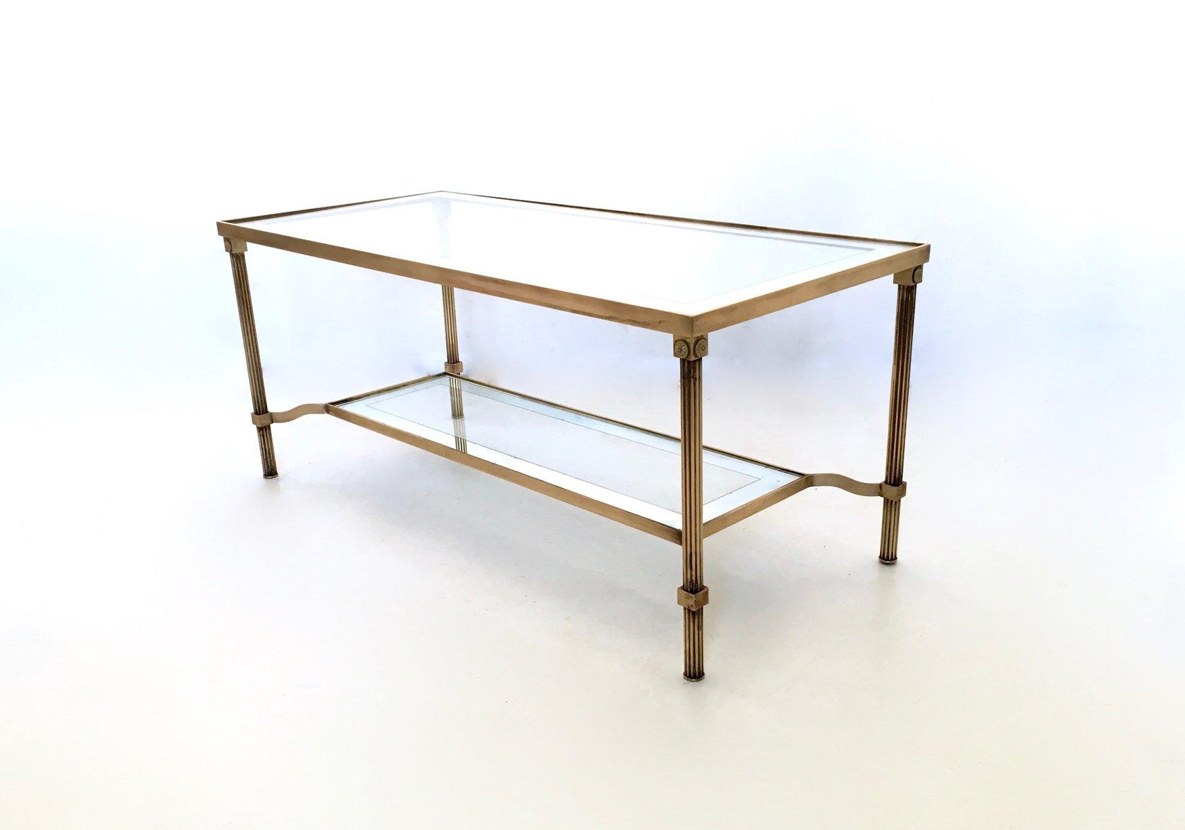 zweistufiger messing und glas couchtisch 1950er bei pamono kaufen. Black Bedroom Furniture Sets. Home Design Ideas