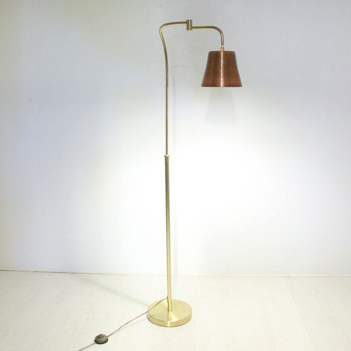 lampadaire vintage en laiton et cuivre 1970s en vente sur pamono. Black Bedroom Furniture Sets. Home Design Ideas