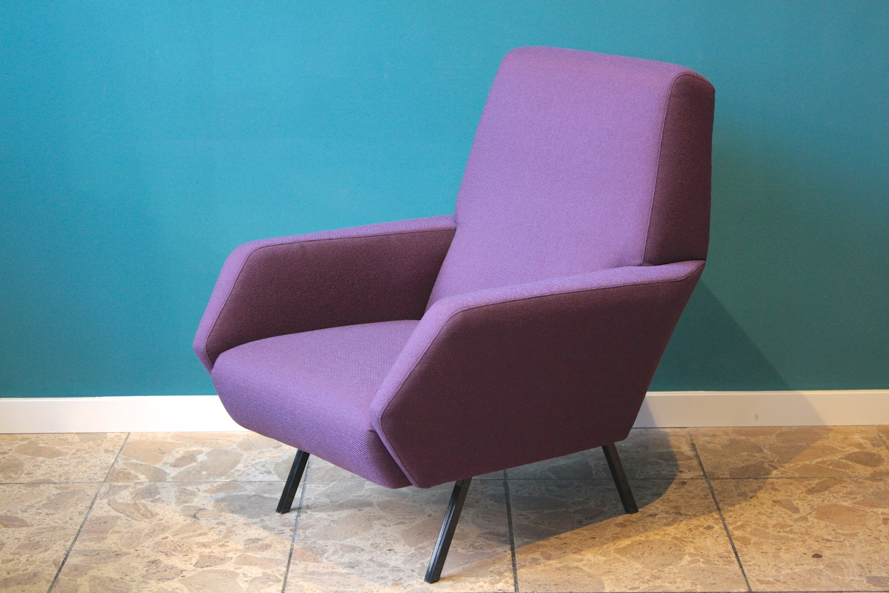 Vintage Italian Metal And Purple Armchairs, 1950s, Set Of 2 For Sale At  Pamono