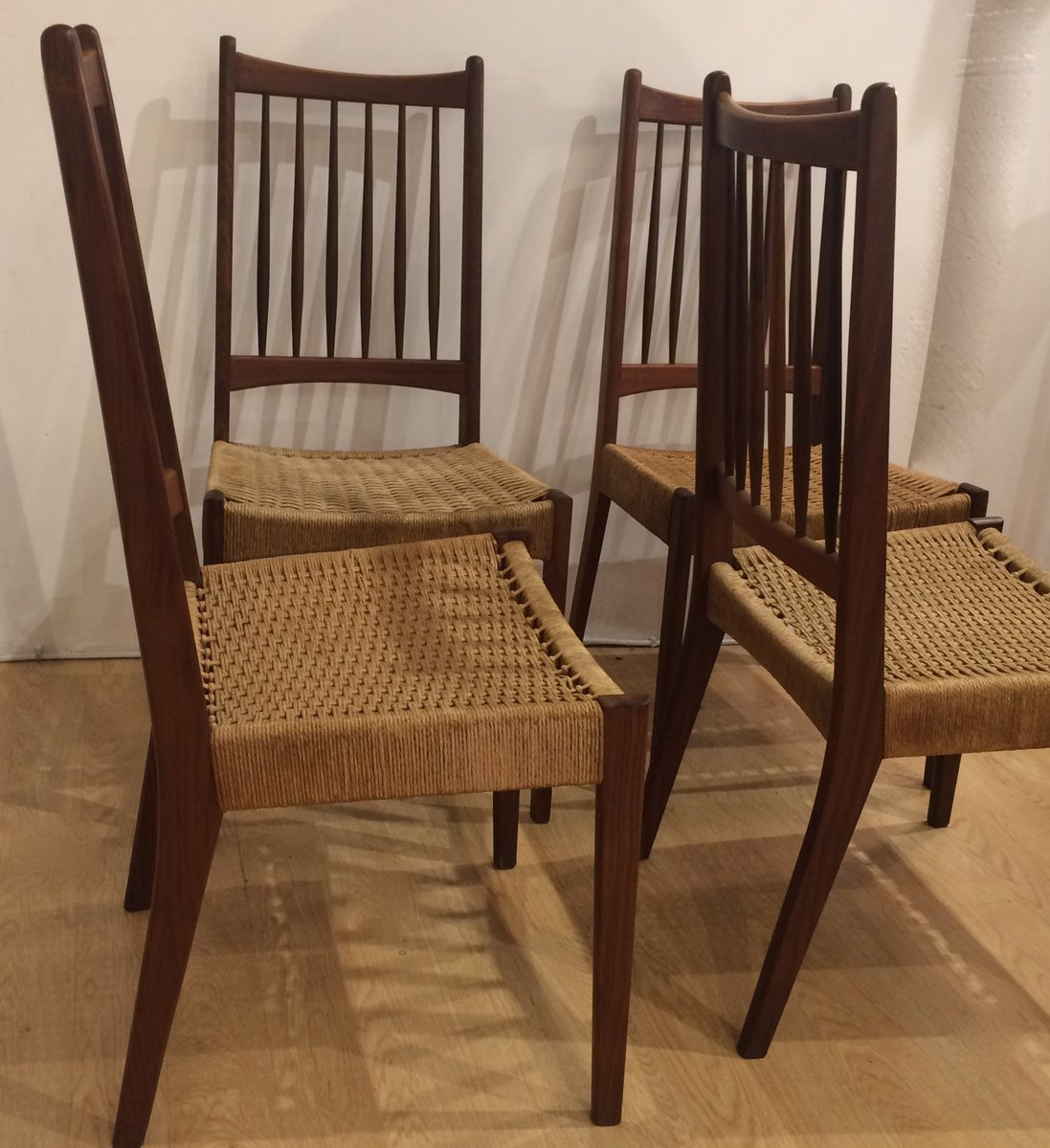 Mid Century Teak And Cane Chairs, 1960s, Set Of 4 For Sale At Pamono