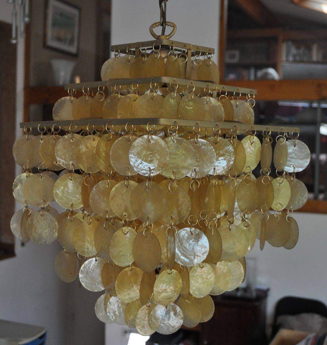 Mid Century Mother Of Pearl Chandelier By Arturo Pani For Verner Panton,  1960s