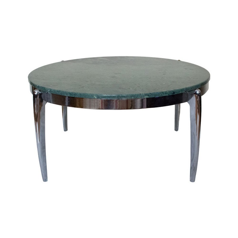 Marble And Steel Coffee Table: Coffee Table In Marble And Stainless Steel, 1970s For Sale